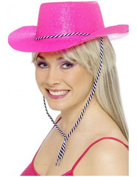 Sombrero de vaquero rosa neón