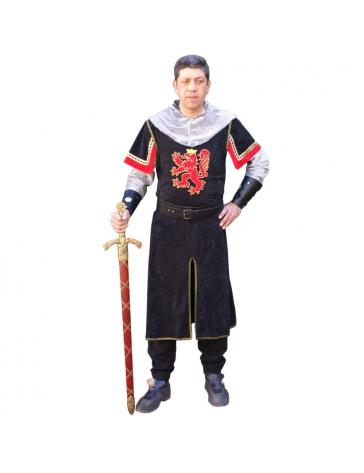 Túnica negra caballero medieval adulto