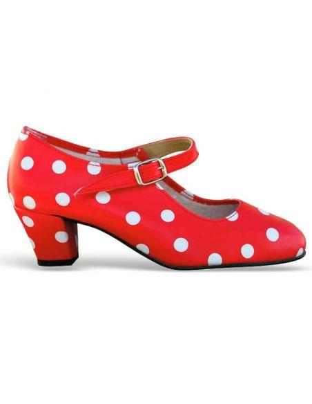Zapato rojo lunares flamenca
