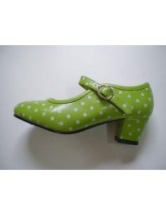 Zapatos de flamenca verde lunares