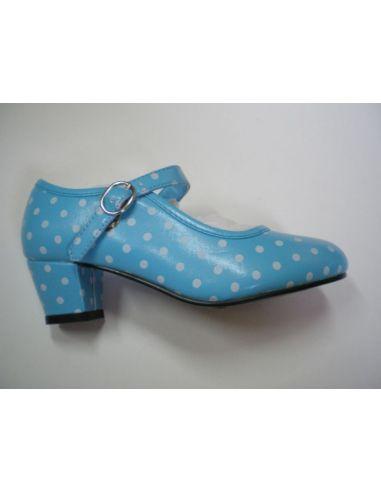 Zapatos de Flamenca Turquesa Lunares