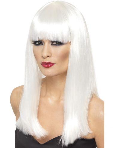 Peluca Glamour blanca lisa