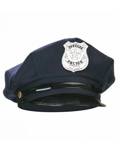 Gorra de policía con placa