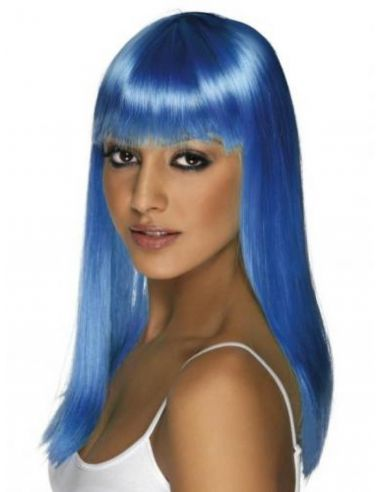 Peluca azul larga