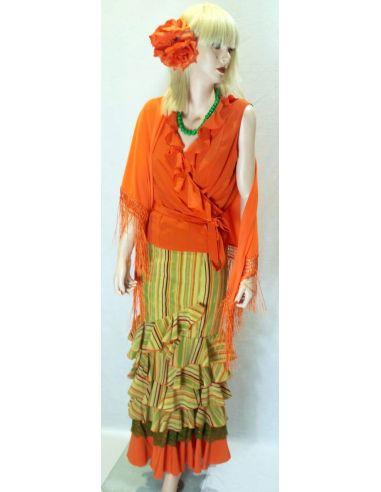 Conjunto flamenca naranja a rayas
