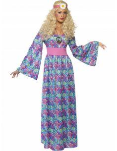 Disfraz Hippy flores mujer