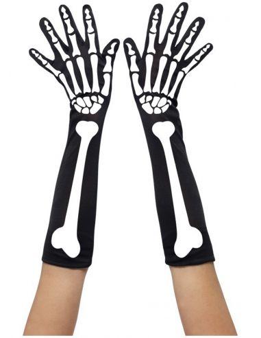 guantes largos de esqueleto