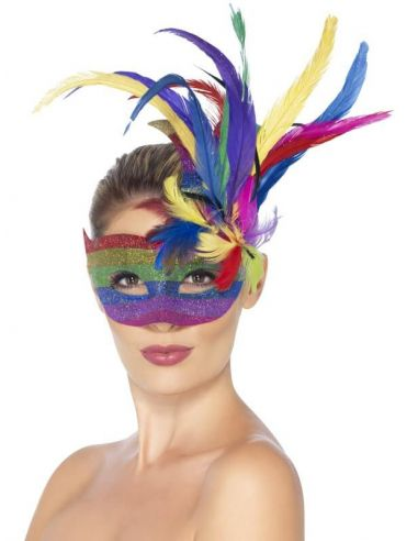 Máscara arco iris con plumas
