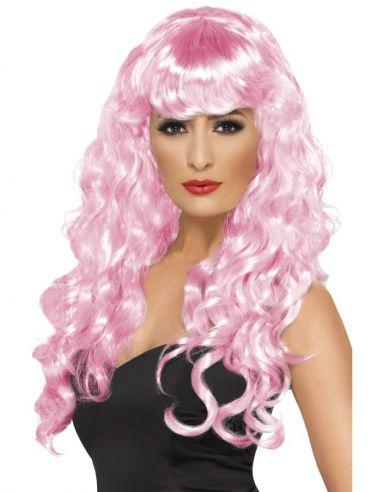 Peluca rosa rizada