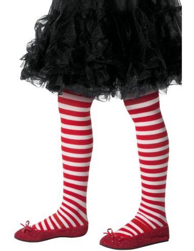 pantys de elfo navideo rojos y blancos infantiles
